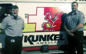 Kunkel Ambulance paramedics Williams Dye and Brian Crolius were recently honored by St. Elizabeth Trauma Center and the Midstate Regional EMS Council for their response to a mass shooting incident in March 2013.